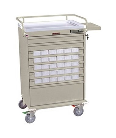 Harloff Value Line 30 Med Bin Cart with Internal Narcotics Box, Specialty Package