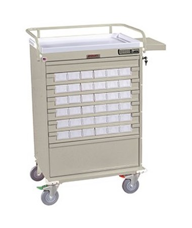 Harloff Value Line 36 Med Bin Cart with Internal Narcotics Box, Specialty Package