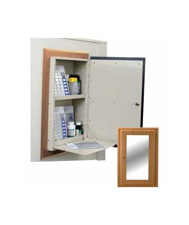 Harloff Wood Laminate Wall 40 Punch Card Medication Cabinet with Mirror