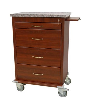 Wood Vinyl 360 Punch Card Medication Cart HARWV360PC-CM-