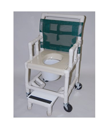 "PVC Shower Chair with Vaccum Formed Seat, Drop Arm, Sliding Footrest, 2"" Wheels On Footrest, and 7 Qt Pail - 18"" Width HMPSC6013DVAC-DASFWW"