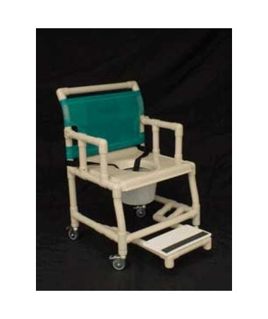 "PVC Shower Chair with Vaccum Formed Seat, Drop Arm, Sliding Footrest and 7 Qt Pail - 18"" Width HMPSC6013DVAC-SFDA-C7-"