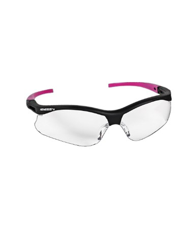 Clear Anti-Fog Lens, Black Frame with Pink Tips
