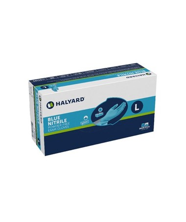 Halyard Blue Nitrile Exam Gloves - Large