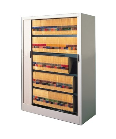 MAY6236A3- File Harbor Unit with Horizontal Tambour Door - 5 Tier - With Pull-Out Reference Shelf