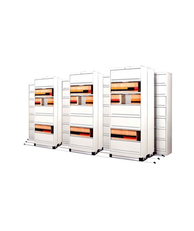 Flip-n-File™ Cabinets on Kwik-Track - Tri-Slider, 10 Units - 4/3/3 MAYFF5433-