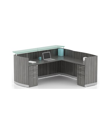 MAYMNRSLBF- Medina™ Series L Shaped Reception Station with Optional Pedestals - 2 - B/B/F Pedestals