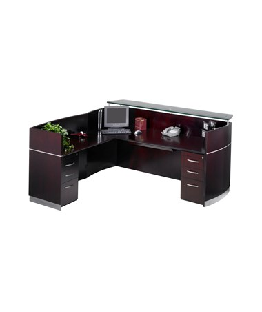 MAYNRSLBA- Napoli® L Shaped Reception Station with Optional Pedestals - with 2 B/B/F Pedestals