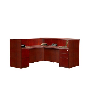 MAYRSRBB- Luminary Series L Shaped Reception Station with Storage Options - Cherry Veneer