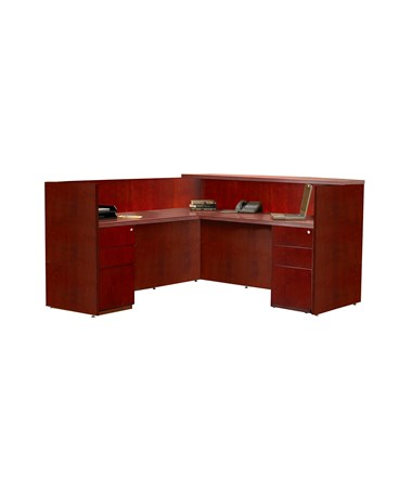 MAYRSRBB- Luminary Series L Shaped Reception Station with Storage Options - with 2 Pedestals