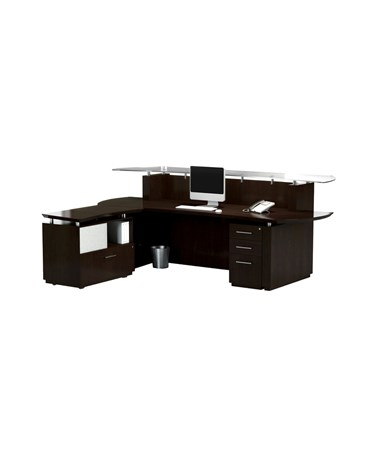 Sterling™ L Shaped Reception Station with Pedestal & Lateral File Cabinet MAYSTG31
