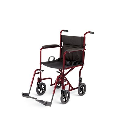Excel Basic Standard Aluminum Transport Chair in Red