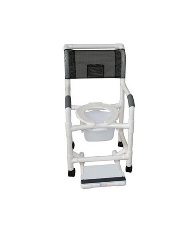 MJM118-3-SF-SQ-PAIL Commode Shower Chair with Sliding Footrest and Commode Pail