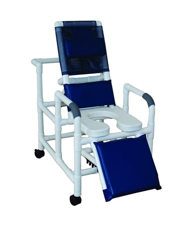 Reclining Shower Commode with Elevated leg Extension and Open Soft Seat MJM193-SSDE