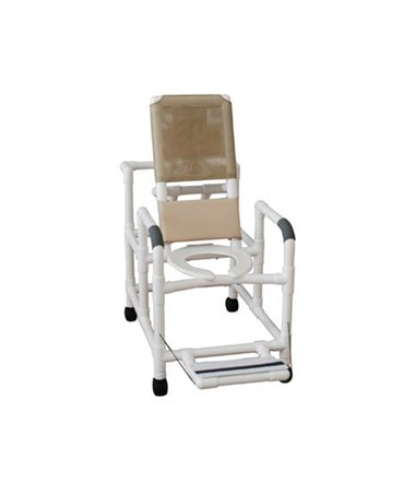 MJM 195-SSDE Reclining Shower Chair with Soft Seat and Folding Footrest