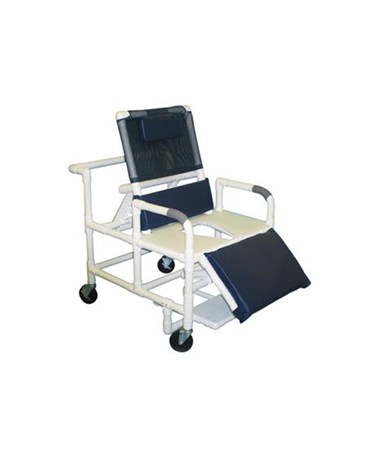 MJM 196-30-BAR Bariatric Reclining Shower Commode with Full Support Seat and Footrest