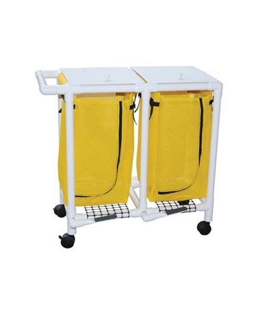 MJM 214-D-FP Double Hamper with Mesh Bag and Foot Pedal