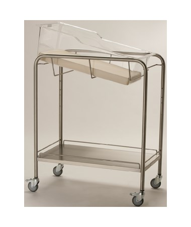 Stainless Steel Bassinet with Bottom Shelf and Rails NVMNB-SSXB-