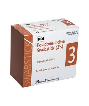 PDI Povidone-Iodine Prep Swabsticks 3-pack box