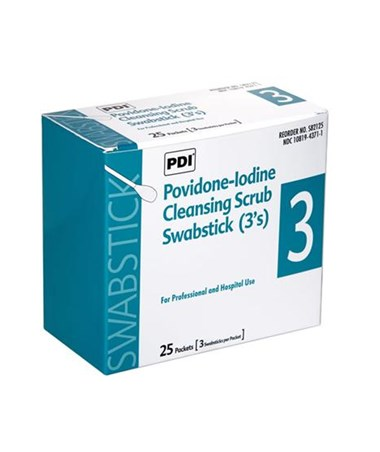 PDI Povidone-Iodine Cleansing Scrub Swabsticks 3-Packet box