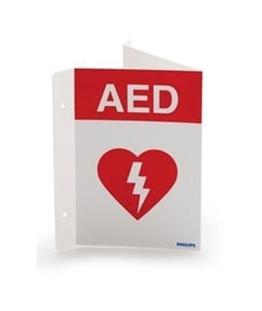 PHI989803170921 AED Wall Sign - Red - Front View