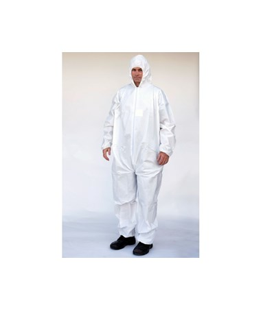 White Suntech Coverall with Attached Hood and Front Zipper SNTSMP127