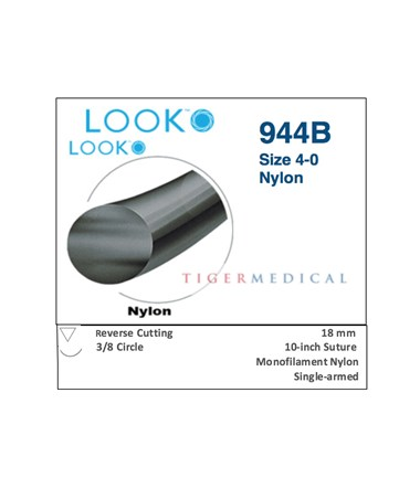Nylon Non-Absorbable Sutures with Reverse Cutting Needles, 3/8 Circle, 12 per Box SSP944B