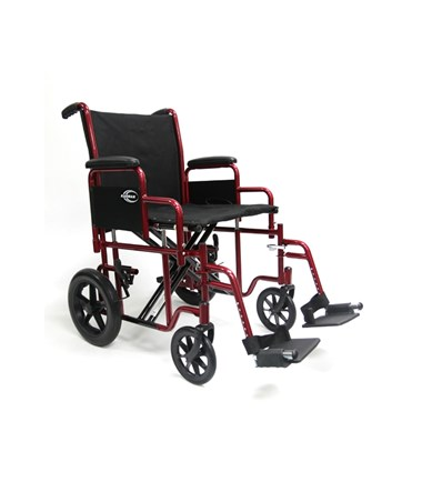 "Heavy Duty 20"" & 22"" Transport Wheelchair with Removable Footrest and Armrest T-920W"
