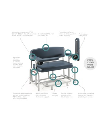 Extra Wide Bariatric Blood Drawing Chair